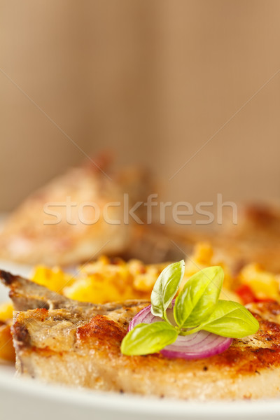 Photo stock: Porc · alimentaire · plaque · viande · barbecue