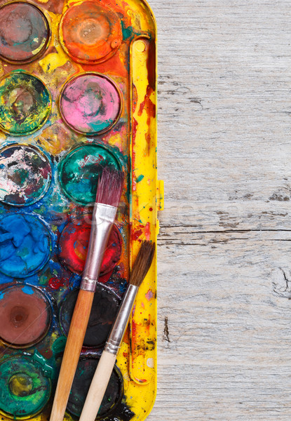 Used watercolor paintbox Stock photo © grafvision