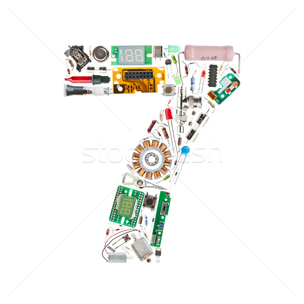 Number '7' made of electronic components Stock photo © grafvision