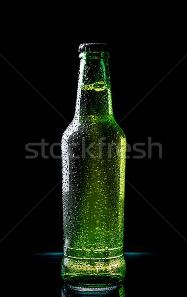 Stockfoto: Koud · bier · bierfles · druppels · zwarte · water
