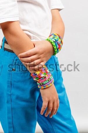 Kid handen hand kinderen weefsel jongen Stockfoto © grafvision