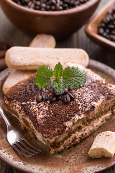 Tiramisu torta menta étel kávé fény Stock fotó © grafvision
