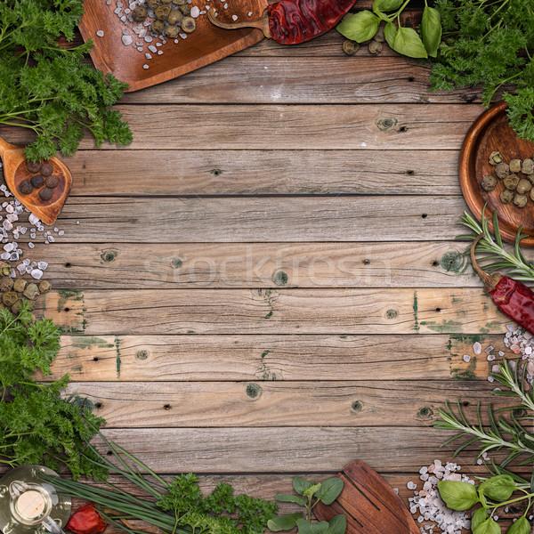 Stock foto: Kräuter · Rahmen · frisch · Jahrgang · Holz · Holz
