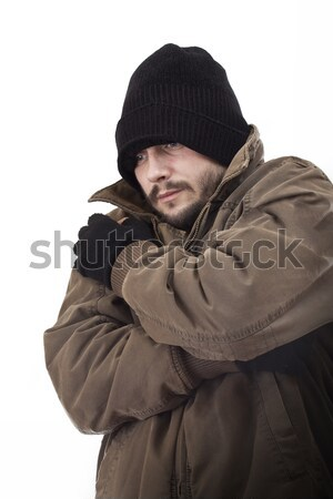 Hajléktalan férfi izolált fehér szem férfiak Stock fotó © grafvision
