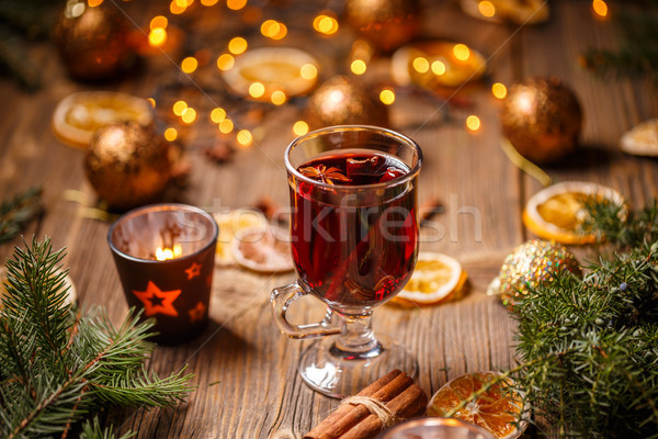 Сток-фото: Рождества · горячей · вино · корицей · сушат · оранжевый