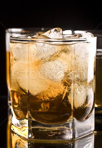 Foto d'archivio: Whiskey · vetro · sfondo · ghiaccio · bere
