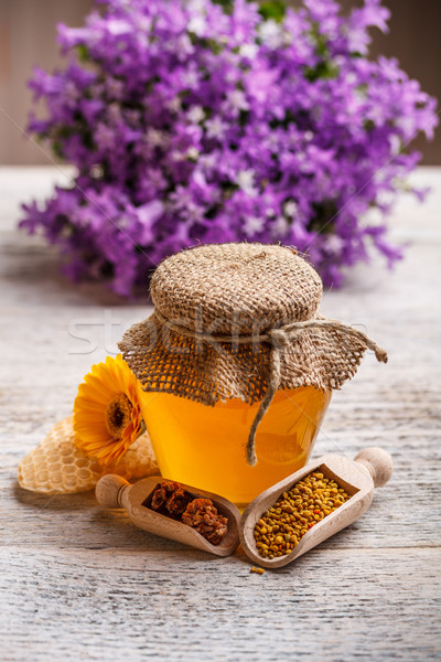 Miele prodotto cucchiaio vetro tavola fresche Foto d'archivio © grafvision