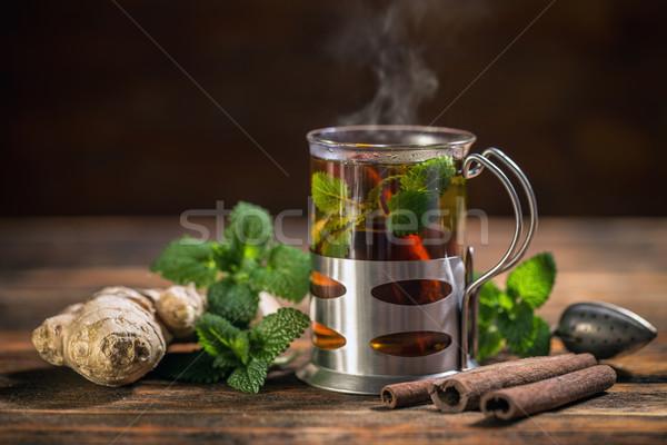 Foto stock: Taza · taza · de · té · té · menta · salud