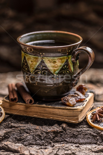 Cup tè stato d'animo libro Foto d'archivio © grafvision