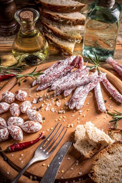 салями благородный плесень продовольствие свежие еды Сток-фото © grafvision