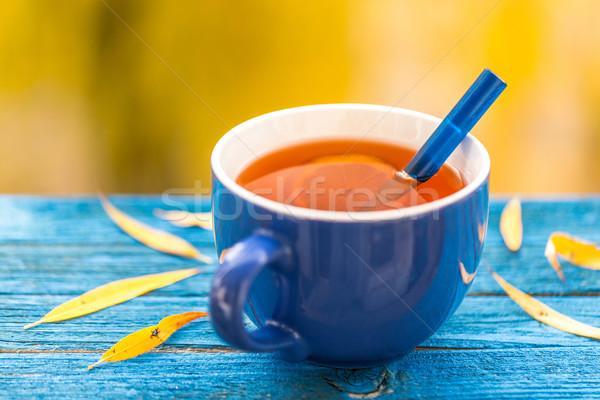 Cup tè blu legno Foto d'archivio © grafvision