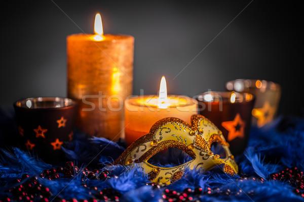 венецианский карнавальных маске свечу синий Перу Сток-фото © grafvision