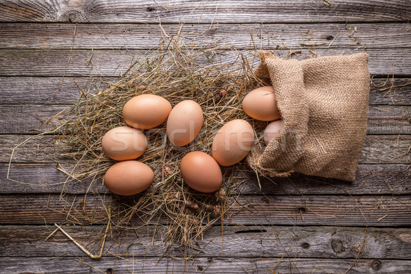 Marrón huevos rústico estilo fondo granja Foto stock © grafvision