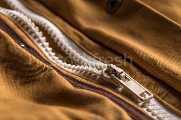 Cremallera marrón abrigo textura ropa Foto stock © grafvision