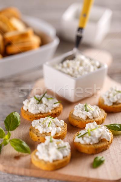Bruschetta sandwich cottage cheese houten voedsel Stockfoto © grafvision