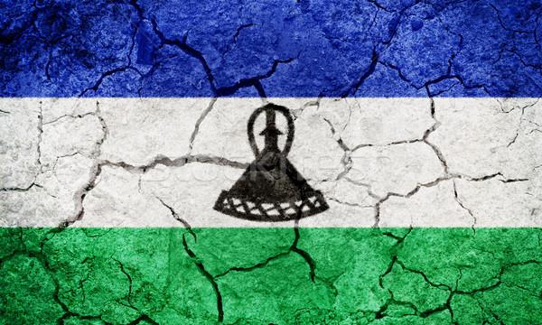 царство Лесото флаг высушите земле землю Сток-фото © grafvision
