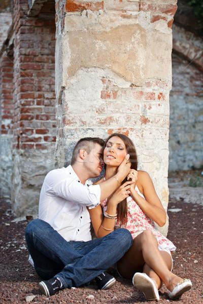 Coppia amore giovane bacio amanti collo Foto d'archivio © grafvision