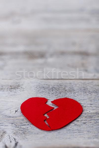 Broken red felt heart Stock photo © grafvision