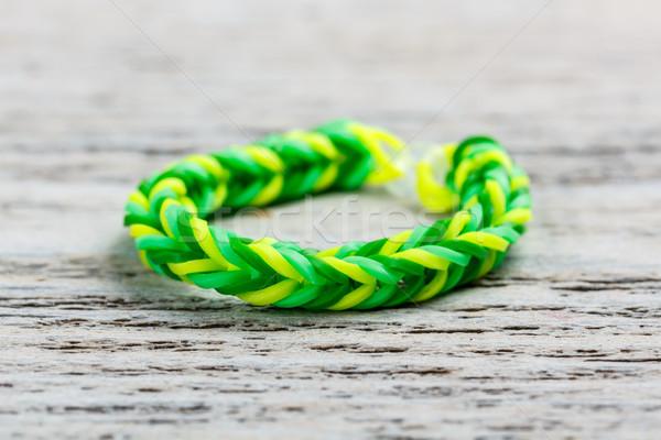 Photo stock: Bracelet · vert · bois · tissu · bande · caoutchouc