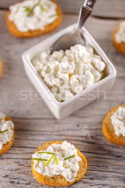 Fromage cottage bruschetta simple sandwiches alimentaire pain Photo stock © grafvision