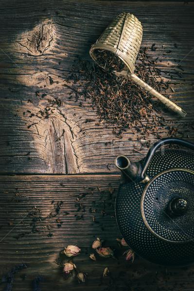 Ijzer asian stijl theepot drogen thee Stockfoto © grafvision
