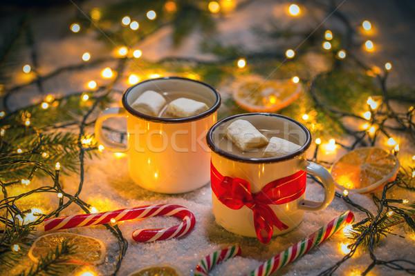Foto stock: Chocolate · quente · marshmallow · natal · estilo · tabela