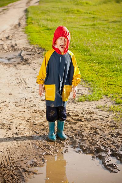 Fiú sáros pocsolya sikít víz kéz Stock fotó © grafvision