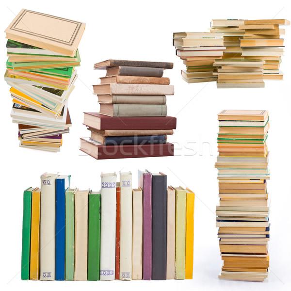 Stockfoto: Oude · boeken · collectie · geïsoleerd · witte