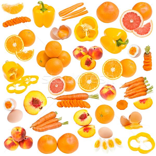 Narancs étel gyűjtemény izolált fehér tojás Stock fotó © grafvision