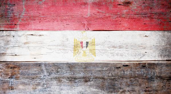 Zászló Egyiptom festett koszos fa palánk Stock fotó © grafvision