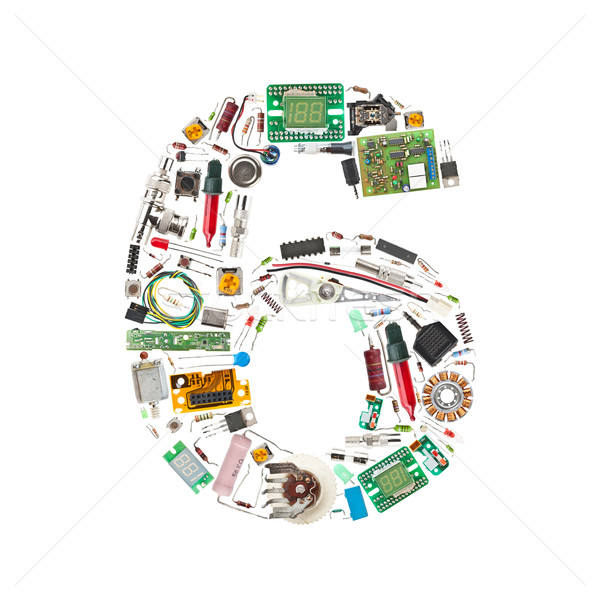 Number '6' made of electronic components Stock photo © grafvision