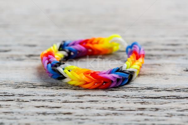 Stockfoto: Regenboog · armband · houten · mode · oranje · zwarte