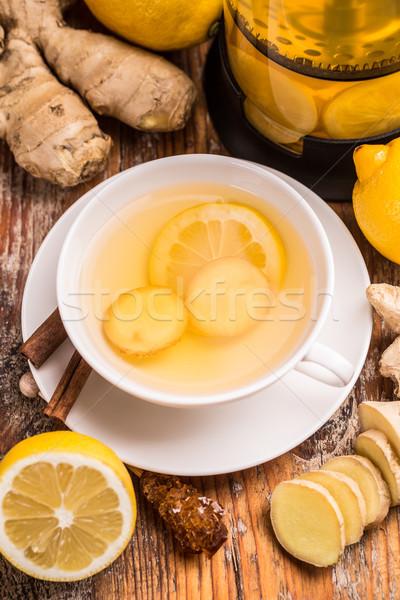 Foto stock: Jengibre · té · limón · blanco · taza · alimentos