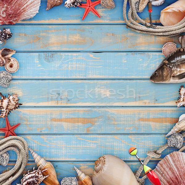 Tenger kagylók keret klasszikus rongyos fa Stock fotó © grafvision