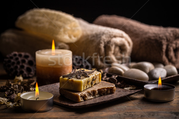 Savon vanille nature bougie bain Photo stock © grafvision