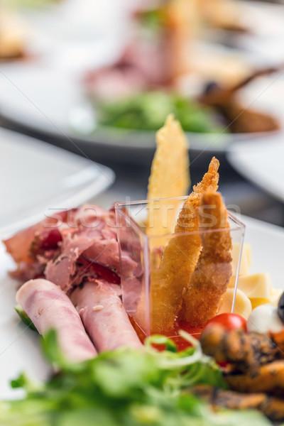 ízletes előétel tányér közelkép étterem sajt Stock fotó © grafvision