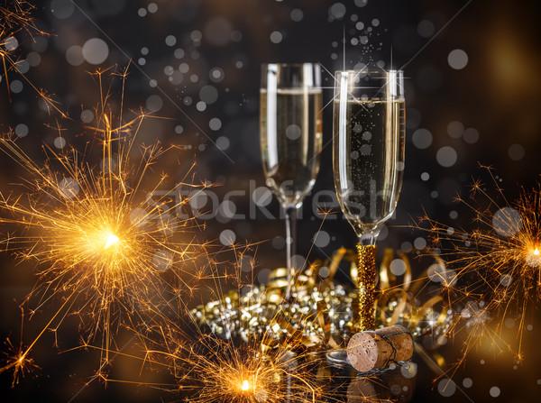 Photo stock: Champagne · verres · prêt · nouvelle · année · fête · vin