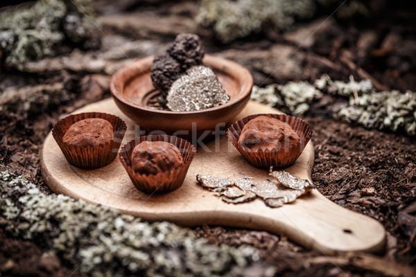 グルメ チョコレート 木製 まな板 黒 暗い ストックフォト © grafvision