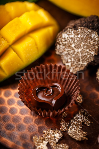 Stock photo: Dark chocolate praline