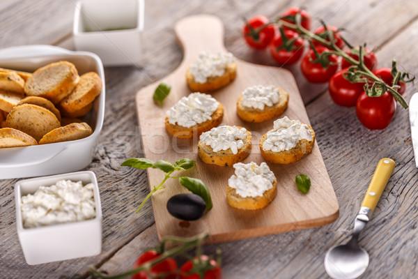 Bruschetta sandviç süzme peynir ahşap gıda Stok fotoğraf © grafvision