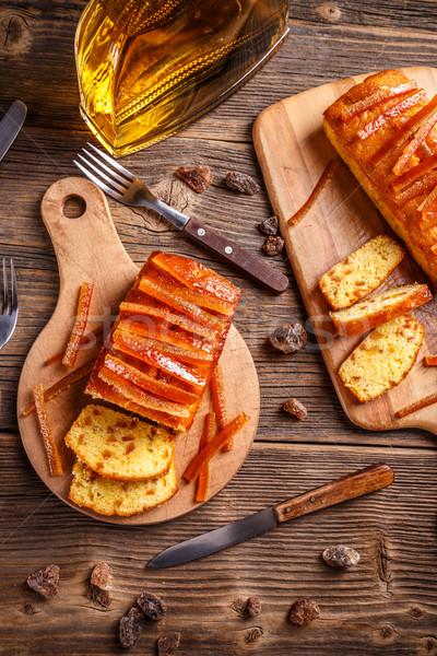 フルーツケーキ 砂糖漬けの オレンジ 木製 まな板 フルーツ ストックフォト © grafvision