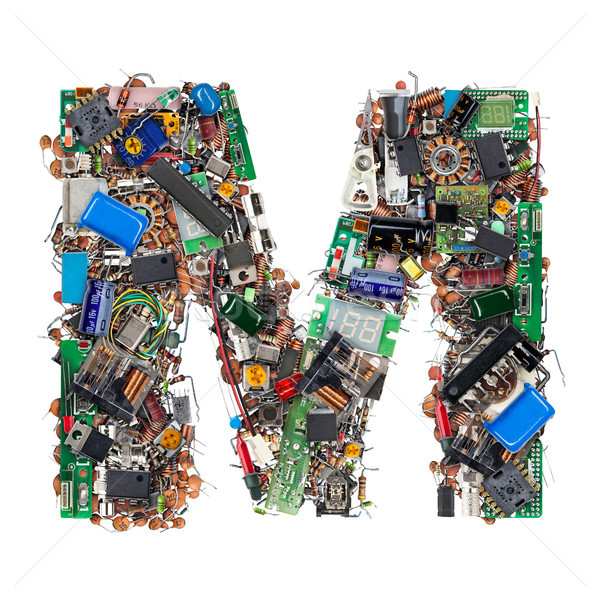 Letter M made of electronic components Stock photo © grafvision