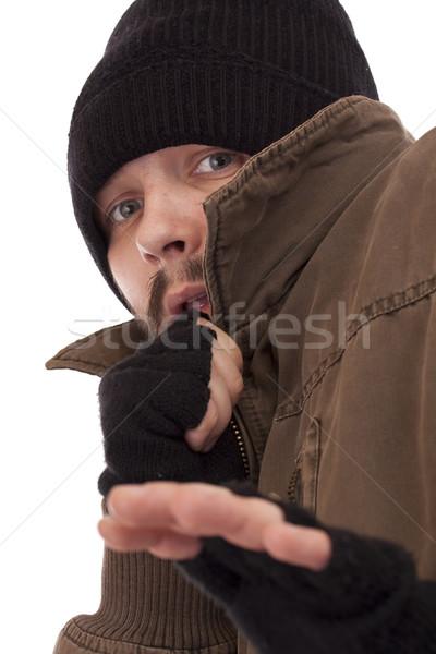 Evsiz adam korkmuş göz hayat Stok fotoğraf © grafvision