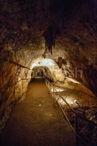Lighted footpath in cave Stock photo © grafvision