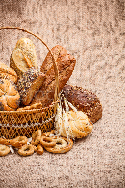 Various breads in basket Stock photo © grafvision