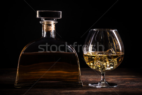 Cognac brandy table en bois fond bar bouteille Photo stock © grafvision