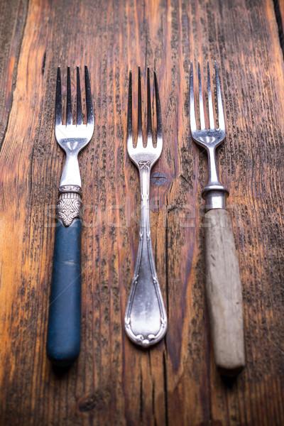 Vintage argenterie rustique bois fond cuisine Photo stock © grafvision