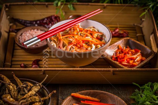 Vegetarian fried noodles Stock photo © grafvision