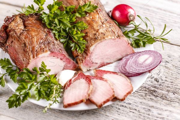 Sliced smoked pork sirloin Stock photo © grafvision