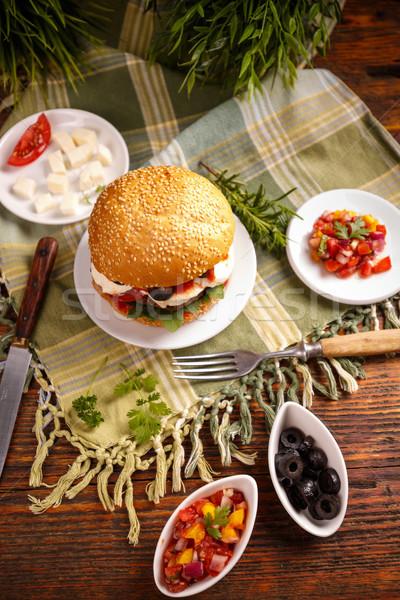 Still life of burger Stock photo © grafvision